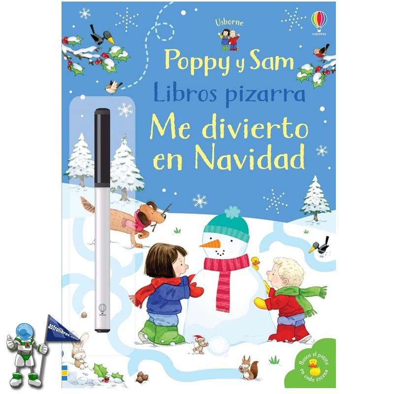 Libro pizarra Poppy y Sam Me divierto en Navidad | Libros de navidad Usborne | Astrolibros librería infantil Vitoria-gasteiz | Librería online